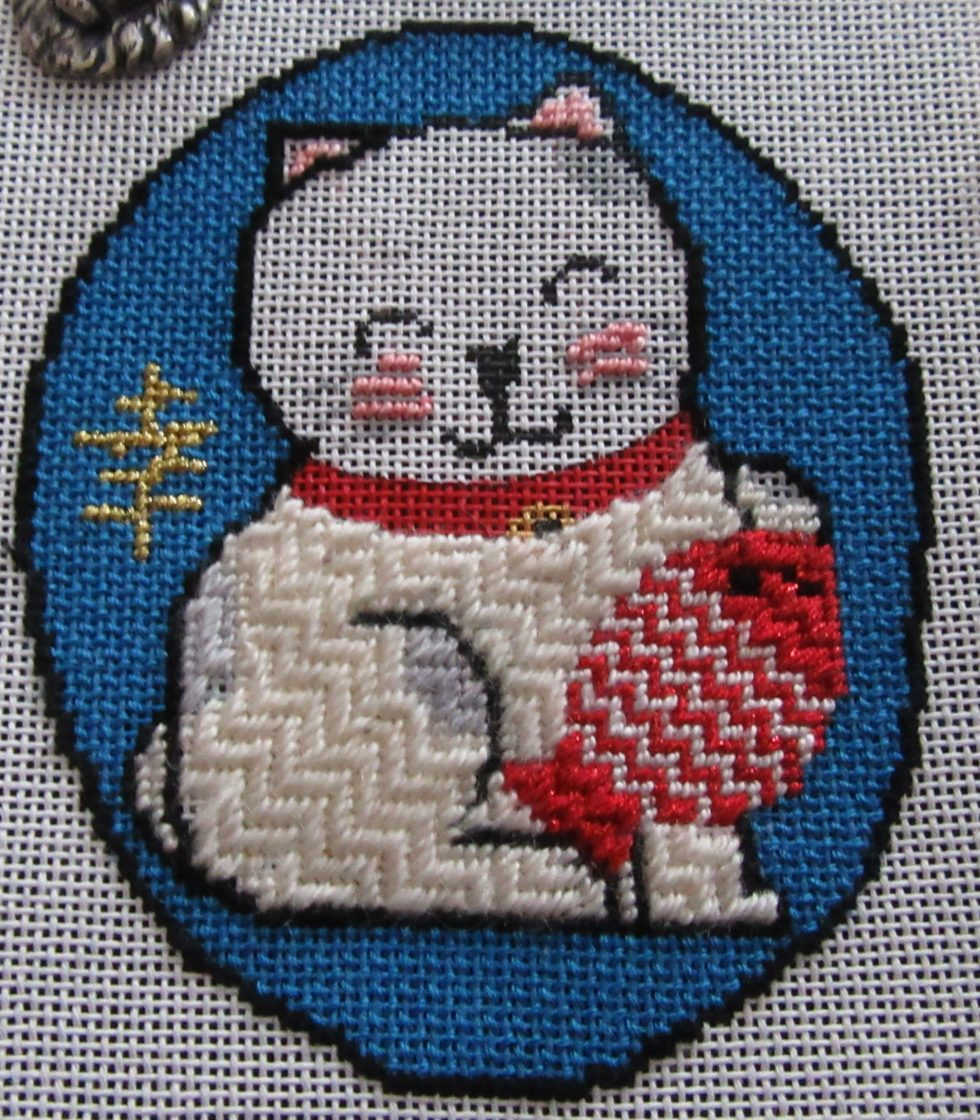 Japanese Good Luck Cat, needlepoint