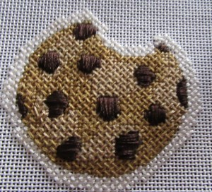 Little Shoppe needlepoint chocolate chip cookie