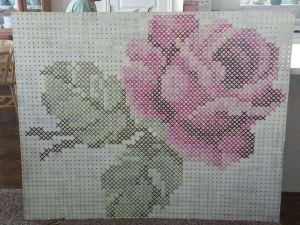 rose cross stitch on pegboard