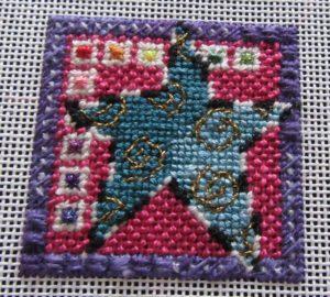 star needlepoint Mindy mini canvas