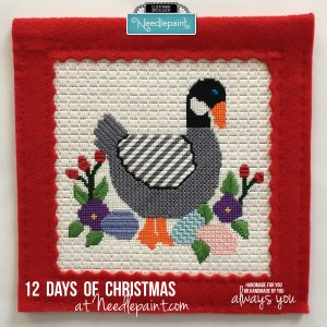 6 geese a-laying needlepoint