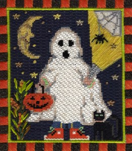 ghostly treater Halloween needlepoint by Kelly Clark