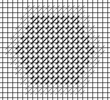 needlepoint hexipuff with Mosaic Stitch border