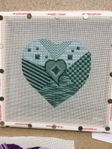 heart challenge needlepoint project