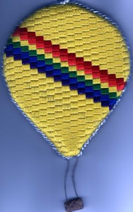 Hot Air Balloon ornament created with needlepoint template