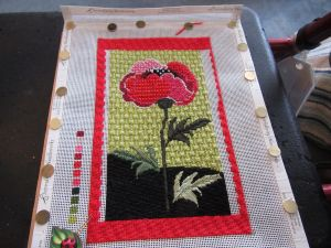 Needldeeva poppy needlepoint canvas with border