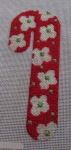 Melissa Shirley candy cane needlepoint
