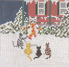 cat and snow cat needlepoint
