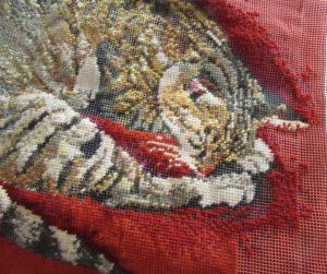 Ehrman cat needlepoint