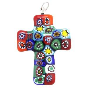 millefiori glass cross pendant