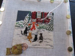 Needle Crossing Cat Snow Day canvas in progress
