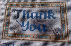 Laurel Wheeler thank you needlepoint