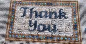 Laurel Wheeler thank you needlepoint