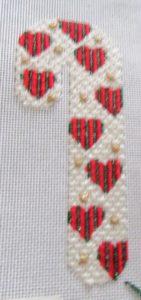 Melissa Shirley heart candy cane needlepoint