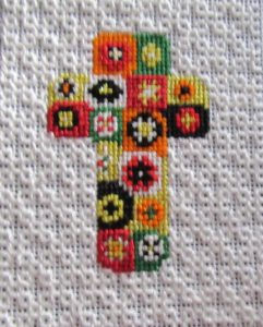 millefiori cross needlepoint finished