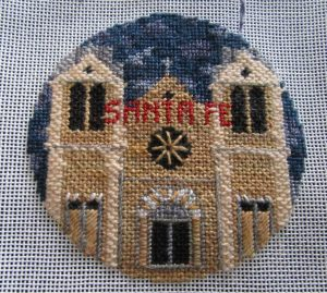 Kathy Schenkel Santa Fe needlepoint with cloudy night sky