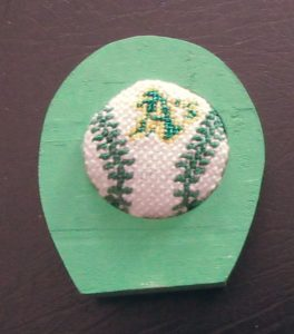 Oakland baseball needlepoint in frame