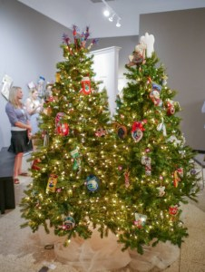 Christmas Trees with needlepoint ornaments