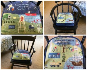 Needlepoint chair seat for child