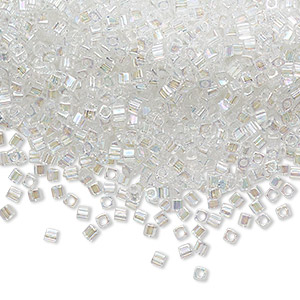 semi-transparent tiny square seed beads