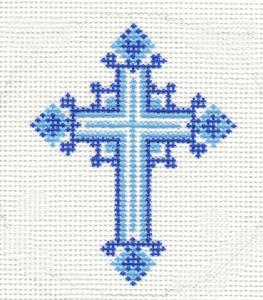 blue Lee needlepoint cross