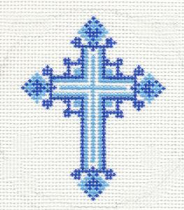 blue Lee needlepoint cross