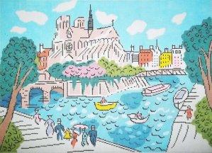 iNotre Dame de Paris needlepoint by Sally Corey