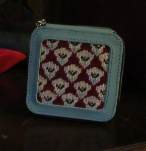Planet Earth travel jewel box with Anne Fisher needlepoint insert