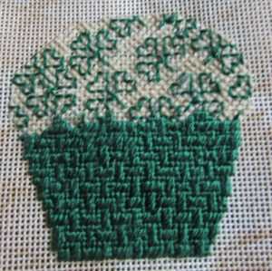 Shamrock Blackwork Needlepoint Cupcake