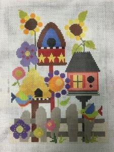 Needledeeva flowers & birdhouses needlepoint