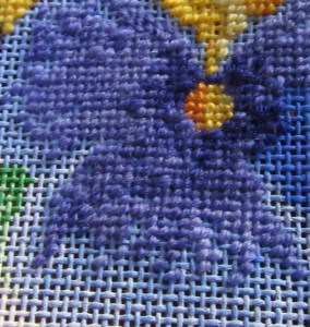 pixel shading with hand-dyed threads