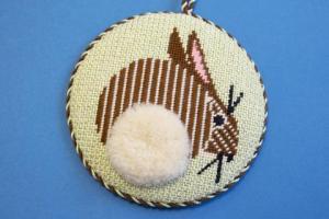 charley harper rabbit needlepoint round