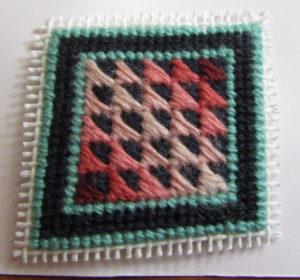 Amish Roman Stripe needlepoint tiny quilt