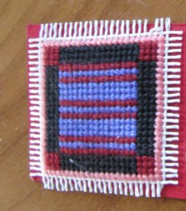 Amish Bars needlepoint tiny quilt