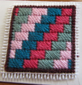 Amish brick needlepoint tiny quilt