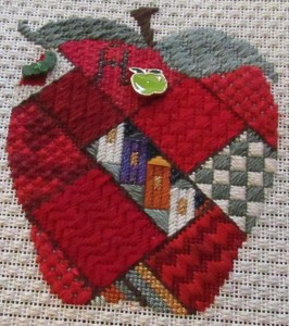 Artist's Collection Patchwork apple needlepoint