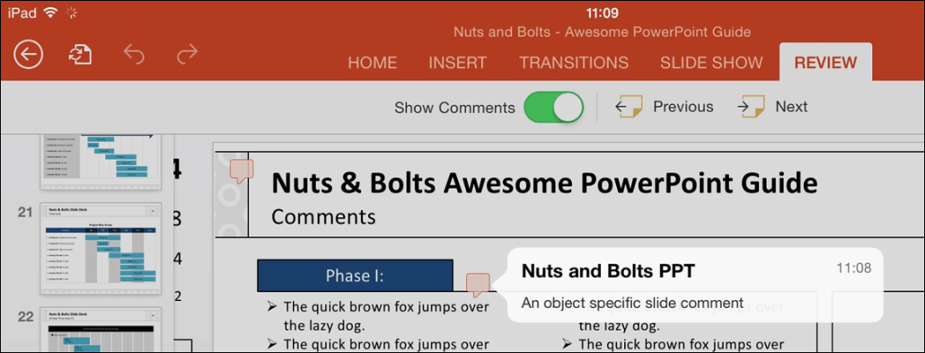 PowerPoint for iPad Review Tab #1 Object Specific Comment