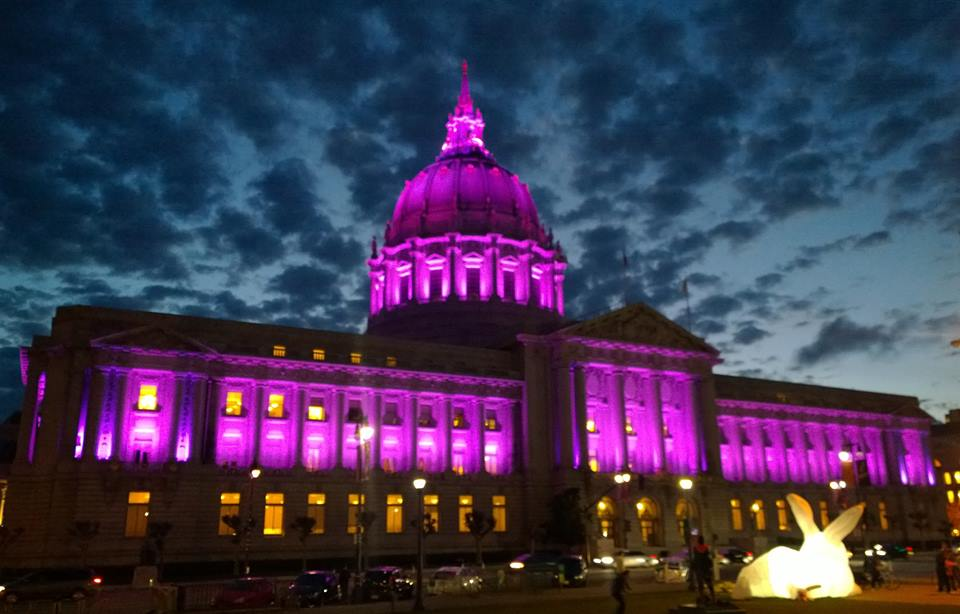 City Hall in San Francisco is awash in purple.