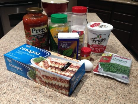 Ingredients for Lasagna Roll Ups