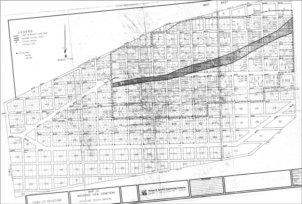 Mountain View Cemetery aka Keystone Cemetery boundaries is shaped like a Coffin