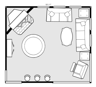 Original Family Room Layout using a Room Builder Layout