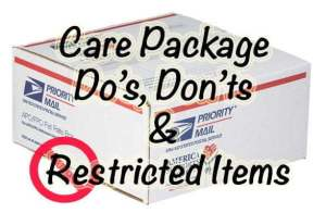 Care Package Do's Don'ts and Restricted Item list