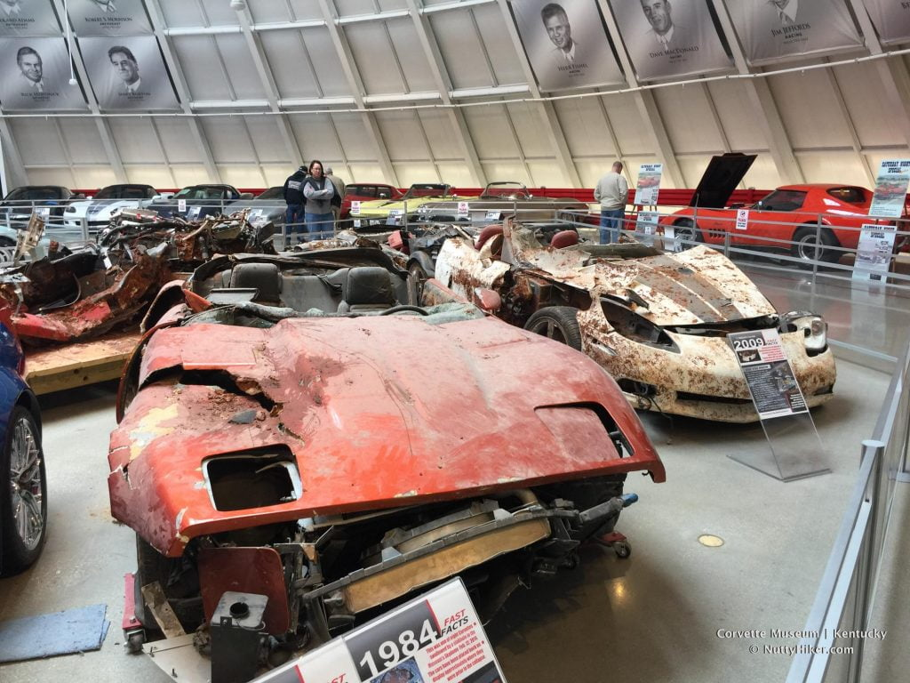 Some of the cars that were destroyed in the sinkhole at the Corvette Museum in 2014