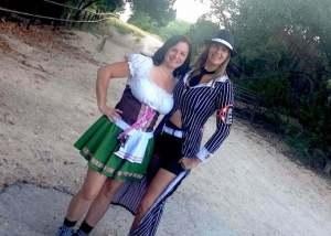 Halloween Hiking Day 1, dressed up in gangster costume, hiking Dana Peak Park Texas near Fort Hood