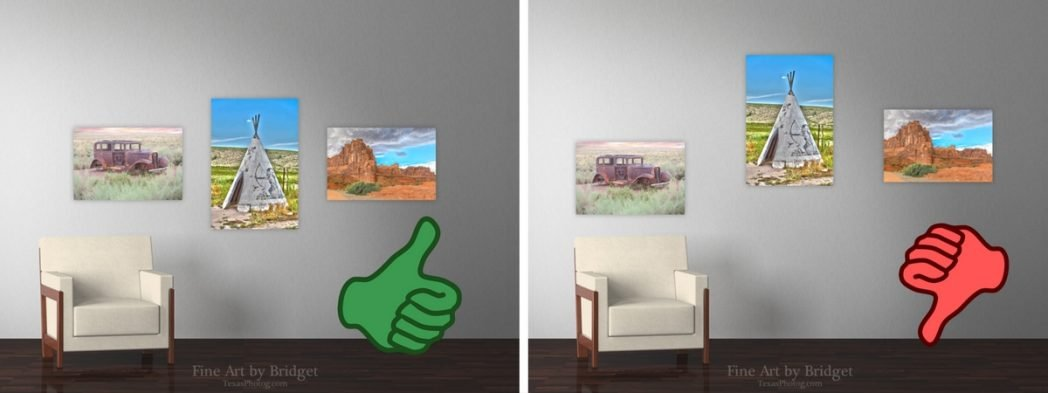 Right and wrong way for hanging pictures. Keep midpoint consistent!