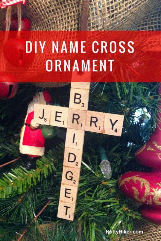 DIY Christmas Scrabble Name Cross Ornament to hang on your Christmas tree!