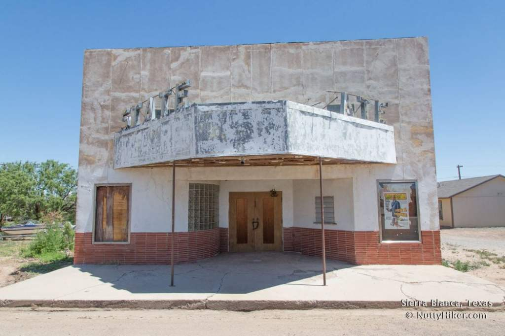 The Adobe State Theatre in Sierra Blanca Texas.