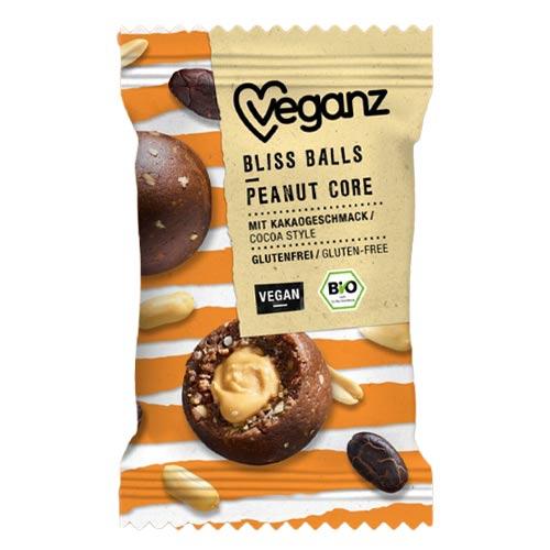 veganz bliss balls peanut core - veganske snacks