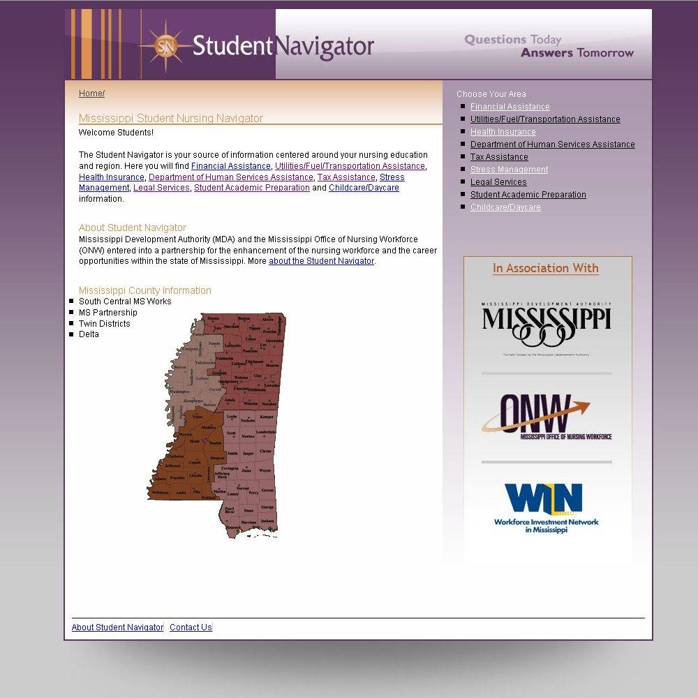 Student Navigator Website Design project for the Mississippi Office of Nursing Workforce
