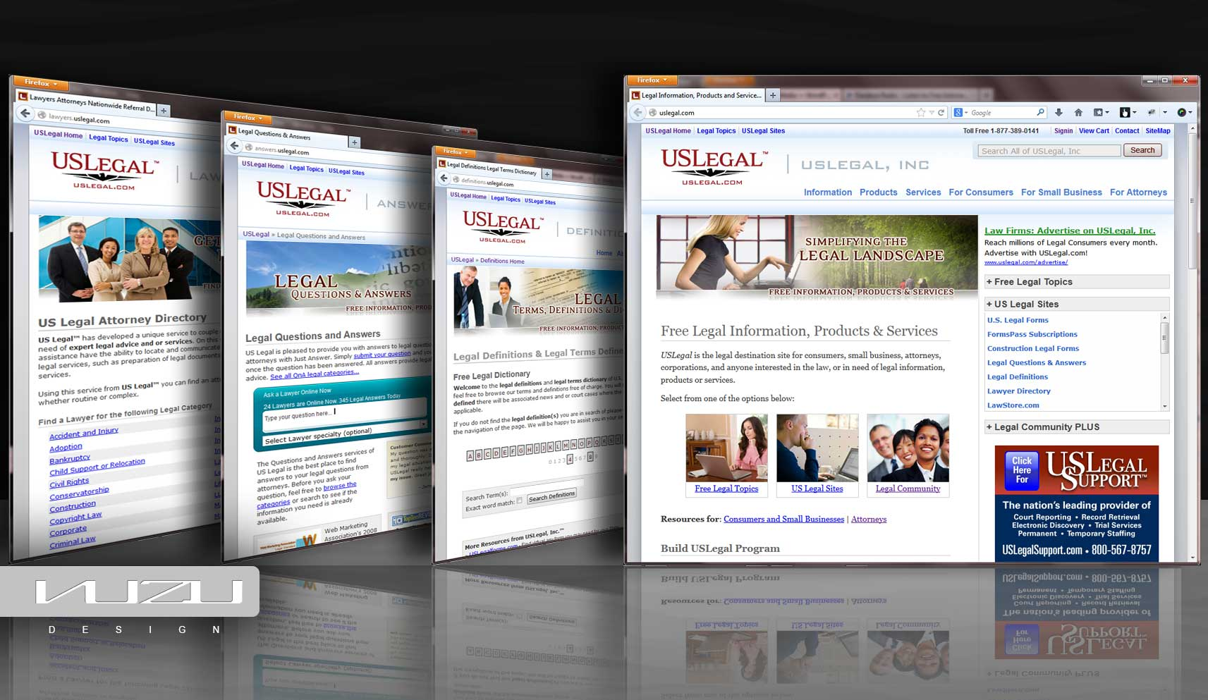 Work done for USLegal and subdomains